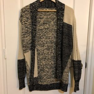Urban Outfitters Black and Beige Knit Cardigan